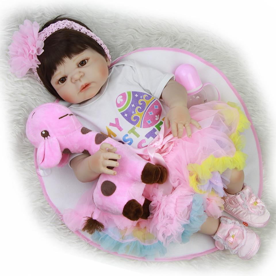 New Design 23'' Reborn Baby Dolls Toy Lifelike Full Vinyl Babies Girl Wear Rainbow Dress Lovely Realistic Boneca Dolls Reborn