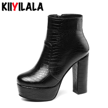 Kiiyilala Zipper Punk Boots Platform Shoes 12cm Square High Heels Women Ankle Winter Autumn