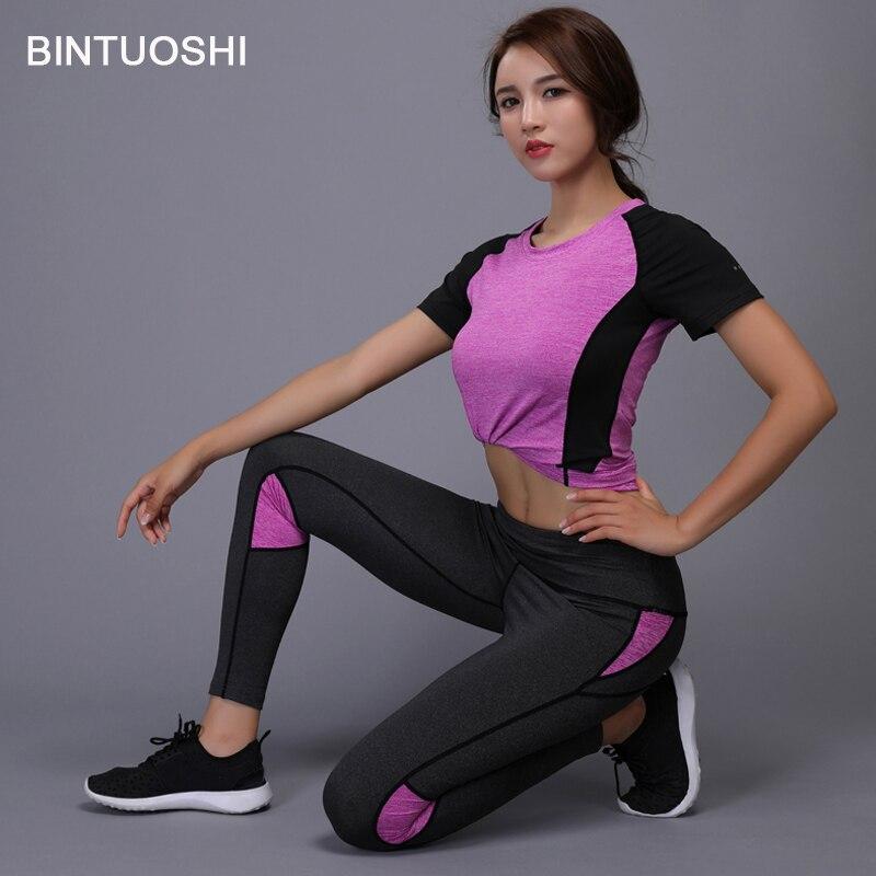 cbc0ae7b4d BINTUOSHI 2 Pieces Women Yoga Set Fitness Gym Clothes Running Tennis Shirt+Pants  Yoga Leggings Jogging Workout Sport Suit