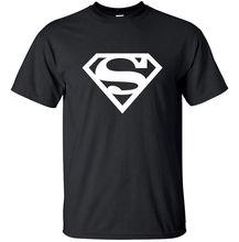 Casual Short Sleeve Shirt Tee Superman logo – Geek Adult T-Shirt Black White Men T Shirt Print Cotton Short Sleeve T-shirt