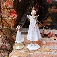 2 Unids/set Resina Artesanía Mini Ángulo de La Madre y de La Muchacha Ornamento Estatuilla En Miniatura Micro-paisaje Arte de Colección T0.2