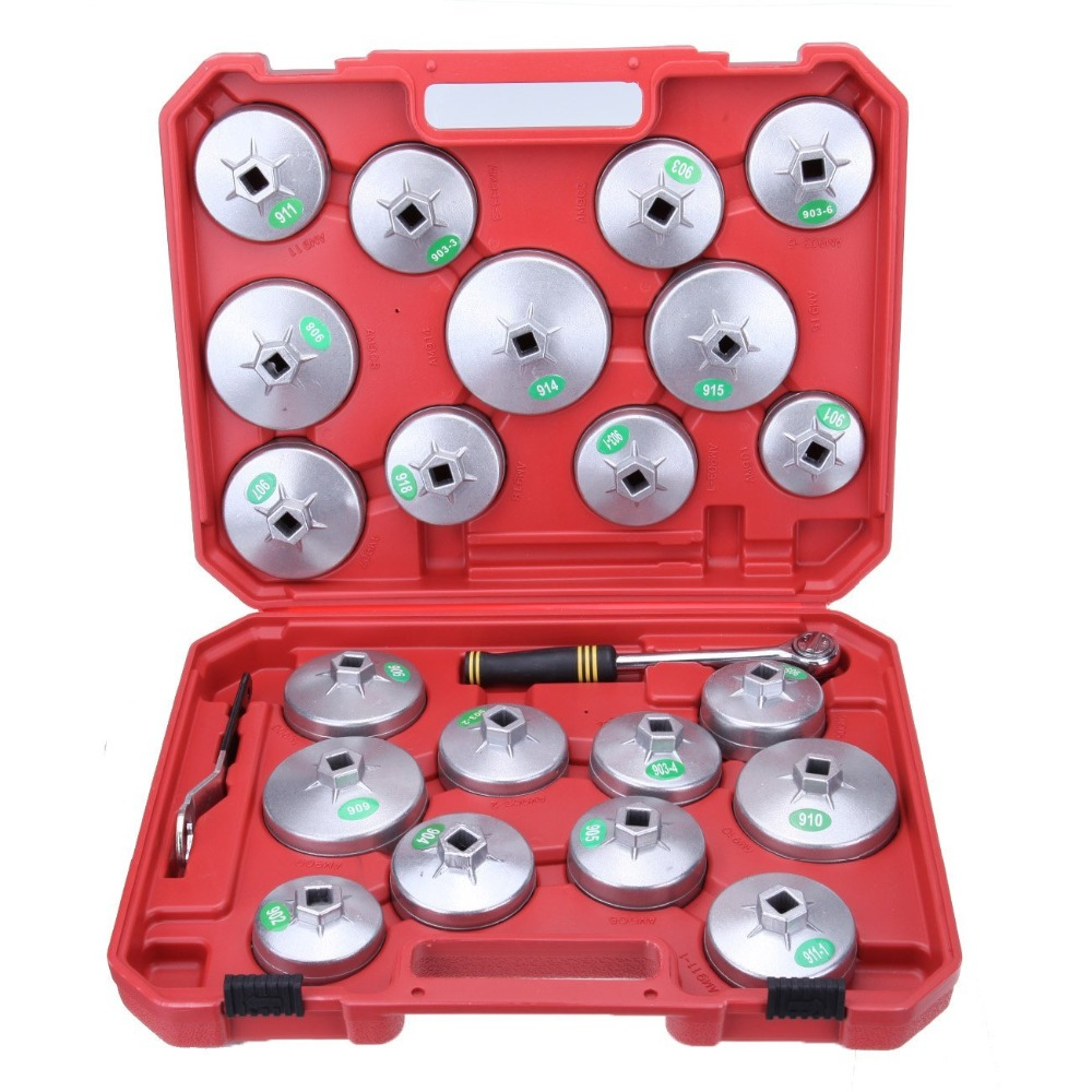 Mainpoint 23 Pcs Oil Filter Cap Removal Wrench Cup Socket Set Ratchet Spanner With Case Hand Tool xkai 14pcs 6 19mm ratchet spanner combination wrench a set of keys ratchet skate tool ratchet handle chrome vanadium
