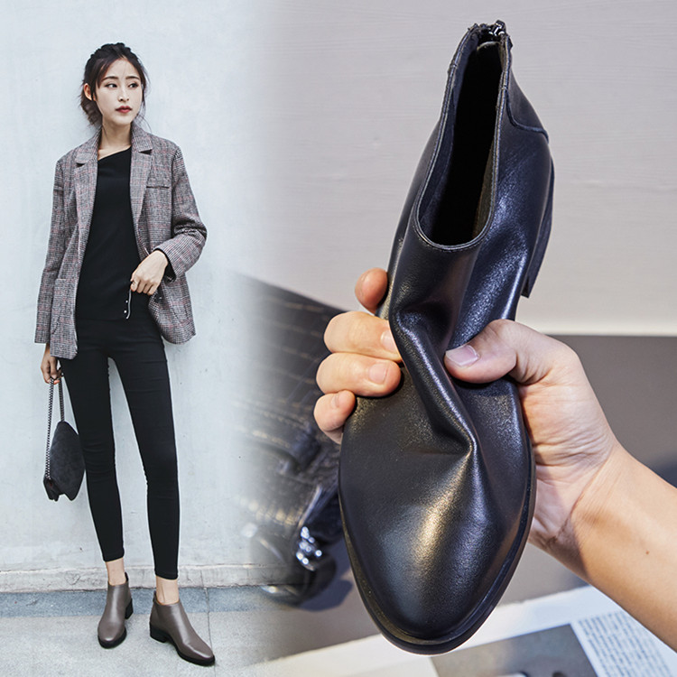 MLJUESE 2018 women ankle boots cow leather gray color low heel autumn spring brown color women martin boots size 33 43