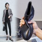 MLJUESE 2018 women ankle boots cow leather gray color low heel autumn spring brown color women martin boots size 33-43