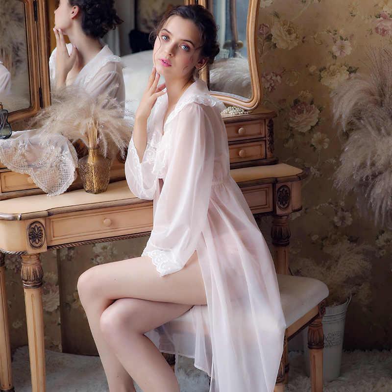 245b8d5dc8 Autumn Women s Long Sleeve Lace Court Sleeping Skirt Retro Nightdress  Elegant Romantic Princess Sexy Silk Night