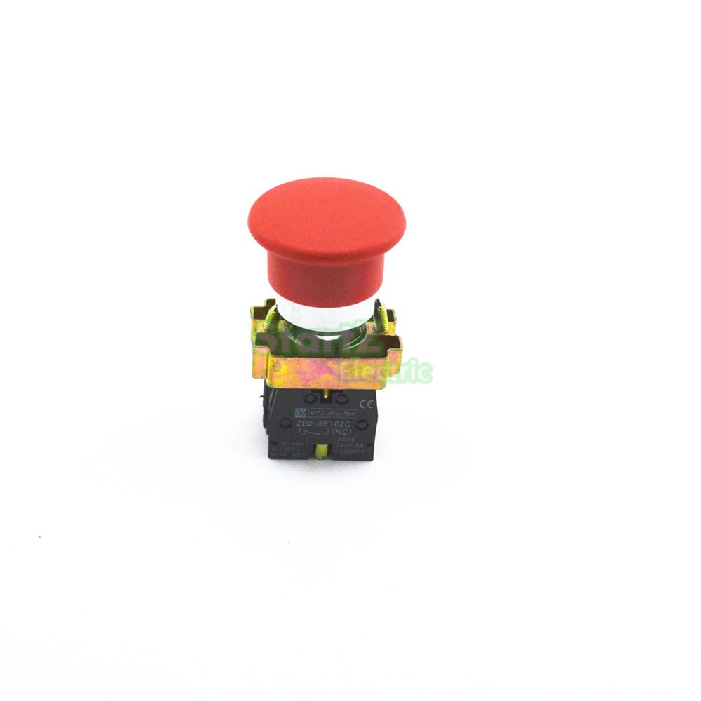 Red Sign Momentary Mushroom Push Button Switch 1 NC XB2-BC42