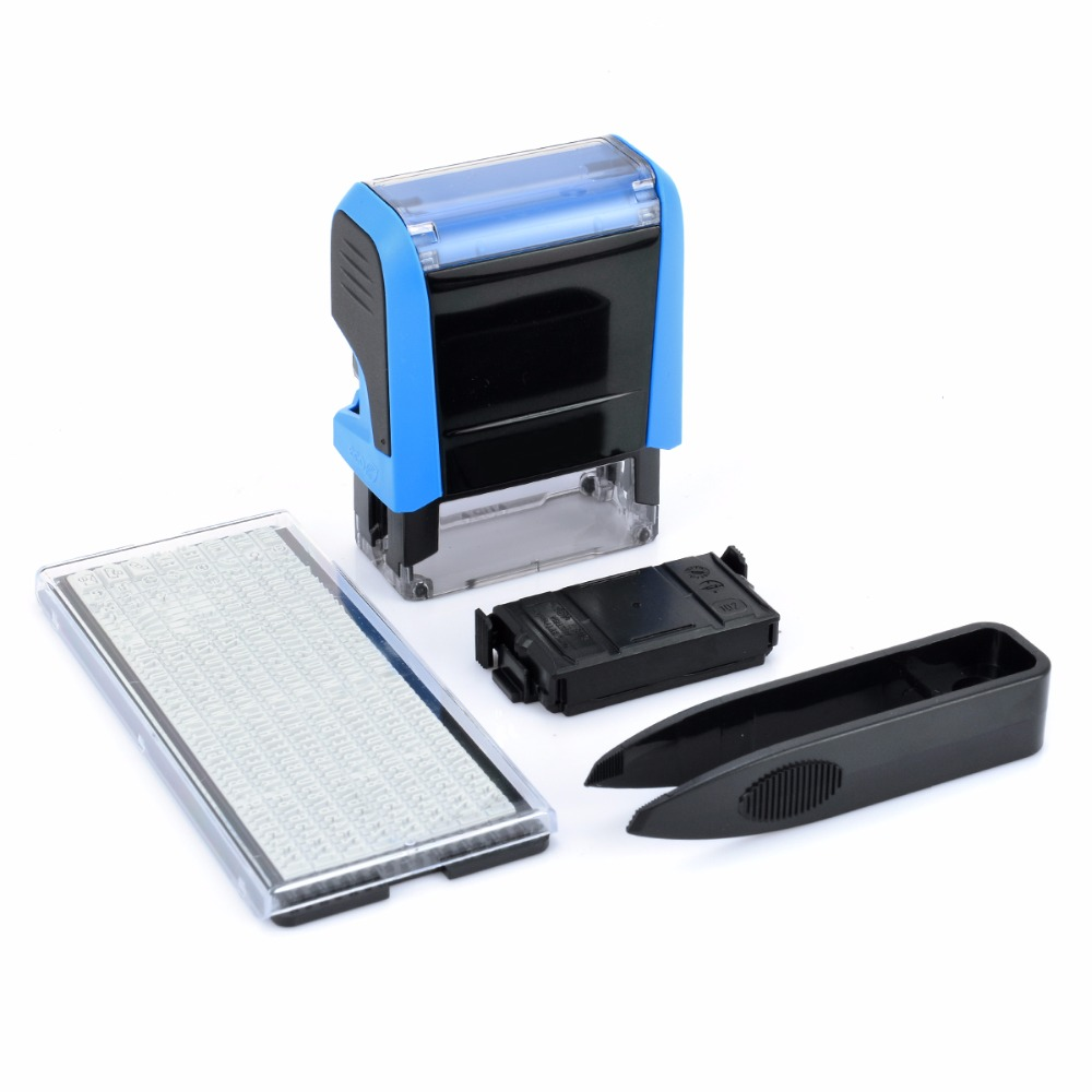 Rubber Stamp Kit Personalised Customised Self Inking Stamp With Tweezers for Business Address Name DIY Stamping Decor