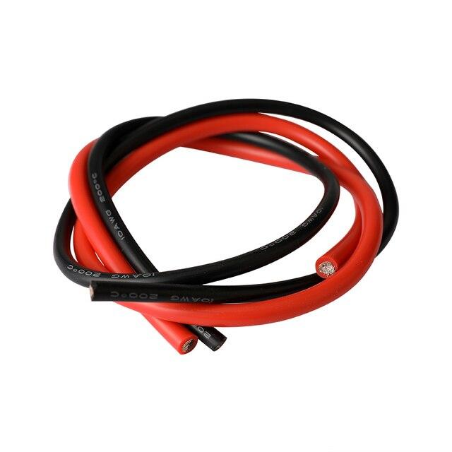 10 AWG تقطعت بهم السبل سلك ربط مرنة سيليكون سلك كهربائي المطاط معزول المعلبة النحاس 600 فولت 0.5 متر أسود 0.5 متر الأحمر