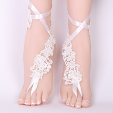 a56f2840d2a5e5 Sexy Wedding Lace Barefoot Sandals Beach Wedding Anklet white Sexy Jewelry  Wedding Shoes 2018