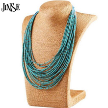 BLS098 New Jewelry Vintage Ethnic Women Beads Bohemian Necklace Multi Layer Necklace Turquoise Beads Statement Necklace Women