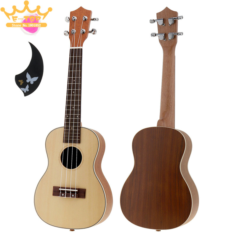 цена  23 Inch 18 Fret Ukulele Acoustic Cutaway Guitar Spruce Wood Ukelele Hawaii Guitarra  онлайн в 2017 году