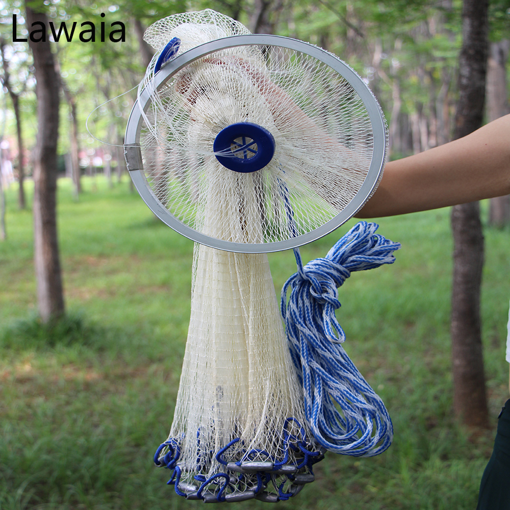 Lawaia Net Fishing Plumbum Lead Pendant Nylon Fish Net Sink Faster Heavy White Fishing Nets Sports Outdoor Tool Throwing Cast