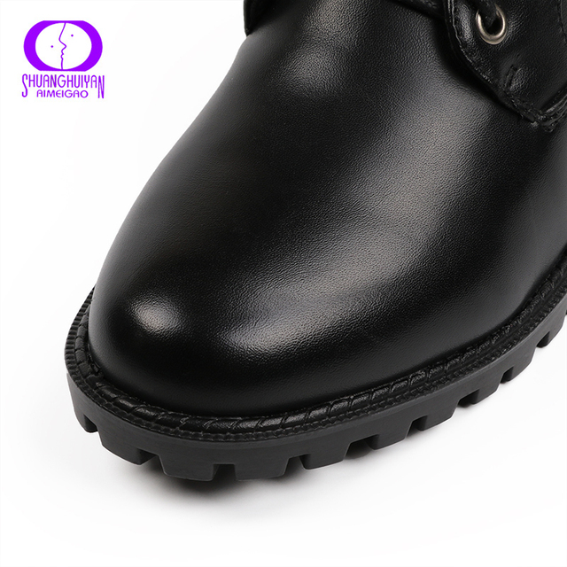 European Style Black Ankle Boots Flats Round Toe Black Zip Martin Boots PU Leather Woman Shoes With Warm Plush 3