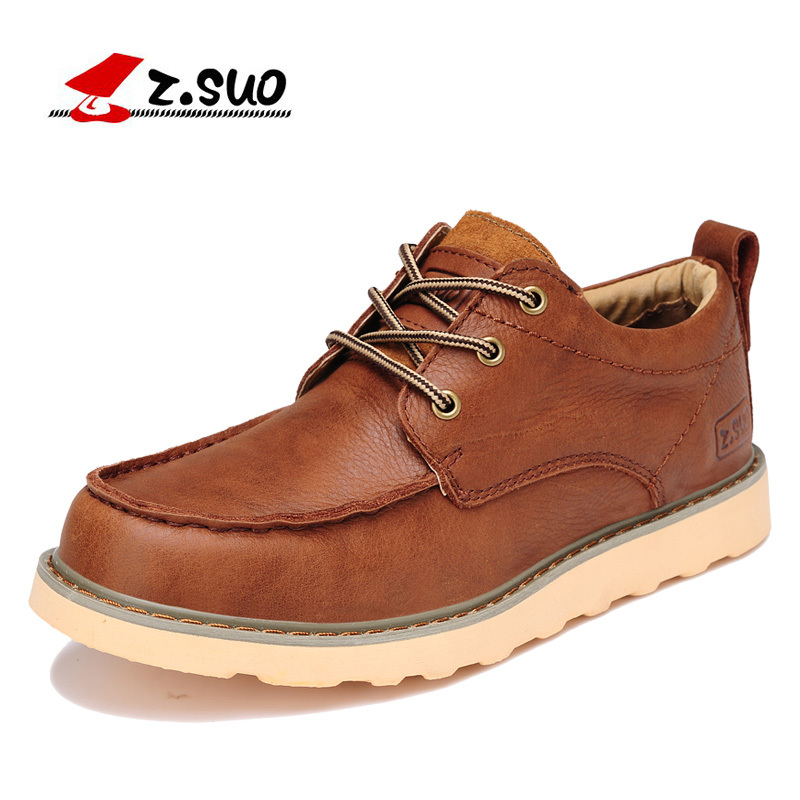 Z.Suo Fashion Spring/Autumn men shoes Genuine Leather shoes Lace-Up Breathable/Comfortable British Style Men's Casual Shoes men s leather shoes vintage style casual shoes comfortable lace up flat shoes men footwears size 39 44 pa005m