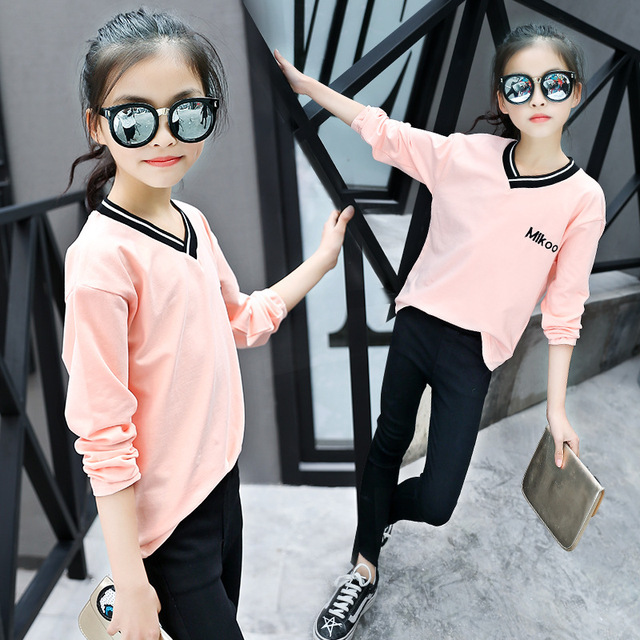 5e77a5e1d244 2018 Teenage Girls New Spring Fashion V Neck T Shirt Korean Trend ...