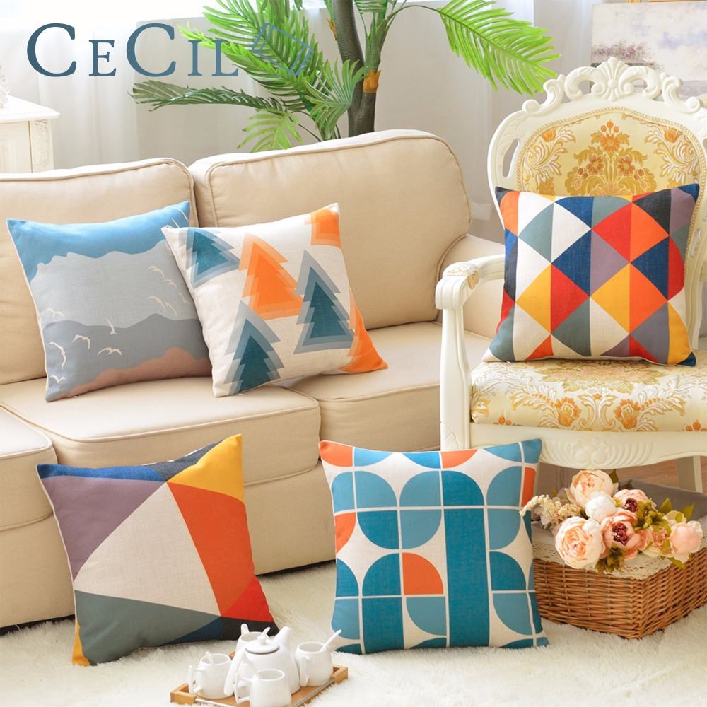 Blue Pillow Covers Living Room: Simple Blue Geometric Nordic Style Abstract Geometric