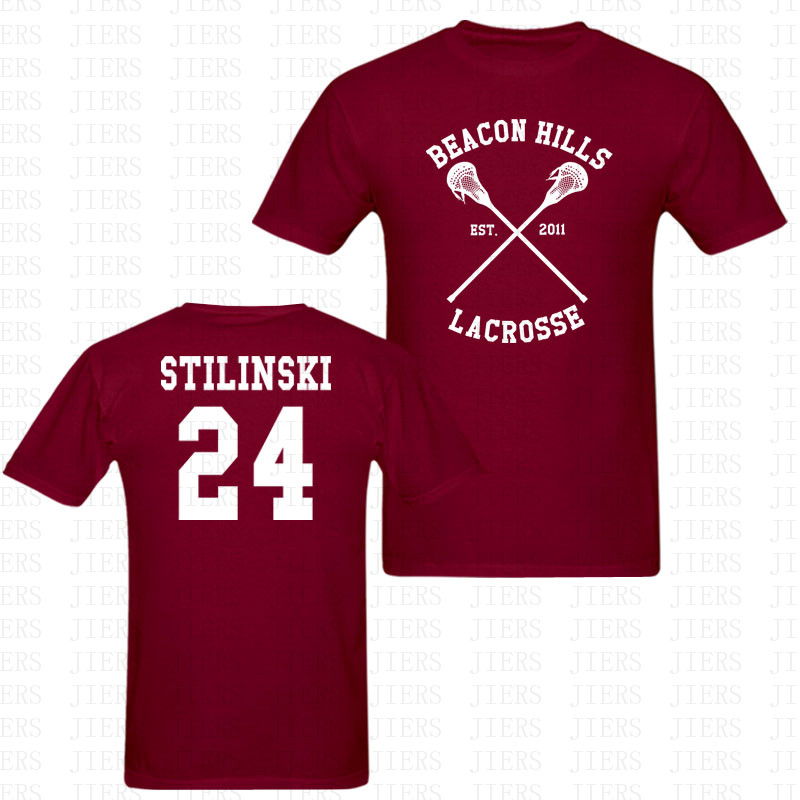 US $10.49 50% OFF|Fashion Teen Wolf Stiles Stilinski 24 T Shirt Men Women Two Side Print BEACON HILLS LACROSSE Funny O Neck Short Sleeve T Shirt in