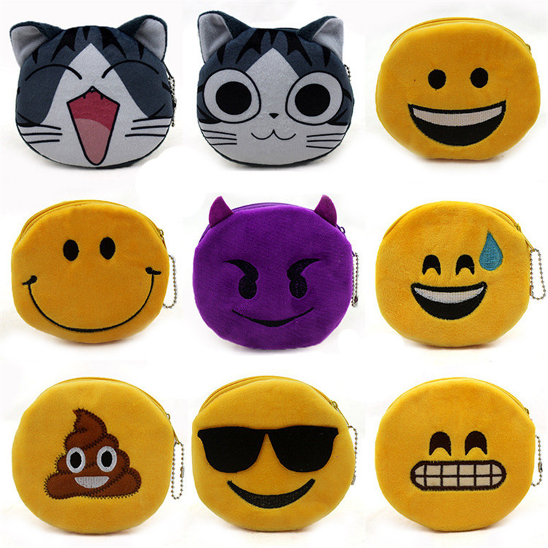 QQ expression emoji plush change purse unisex men fashion coin purses women cat face key card zero wallet for girls pouch free shipping plush tongue funny cat cat expression a birthday present love cats the gifts of men and women