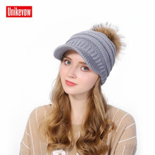 Unikevow Women Winter Beanies With Racoon Fur Pom Pom Ball Warm Thick Female Cap