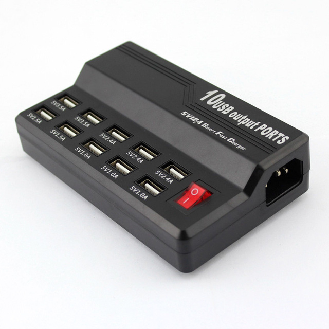 High speed 10 Port USB fast charger 5V/12A For iPhone,For Samsung smartphone tablet PC