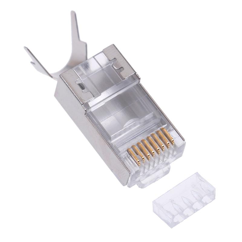 10Pcs Cat7 RJ45 Connector Cat 7 Crystal Plug Shielded FTP RJ45 Modular Connector 1.3mm High Quality