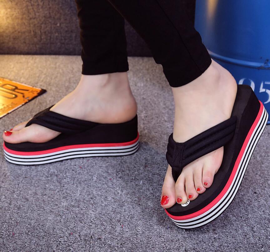 wholesale woman slippers 2016 new muffin slippers thick bottom platform slope beach female sandals 36-40 kryte sandały na platformie