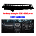 For Jeep wrangler dashboard mat protective pad dash mat covers Photophobism Pad auto dashboard car styling accessories 2007-2016