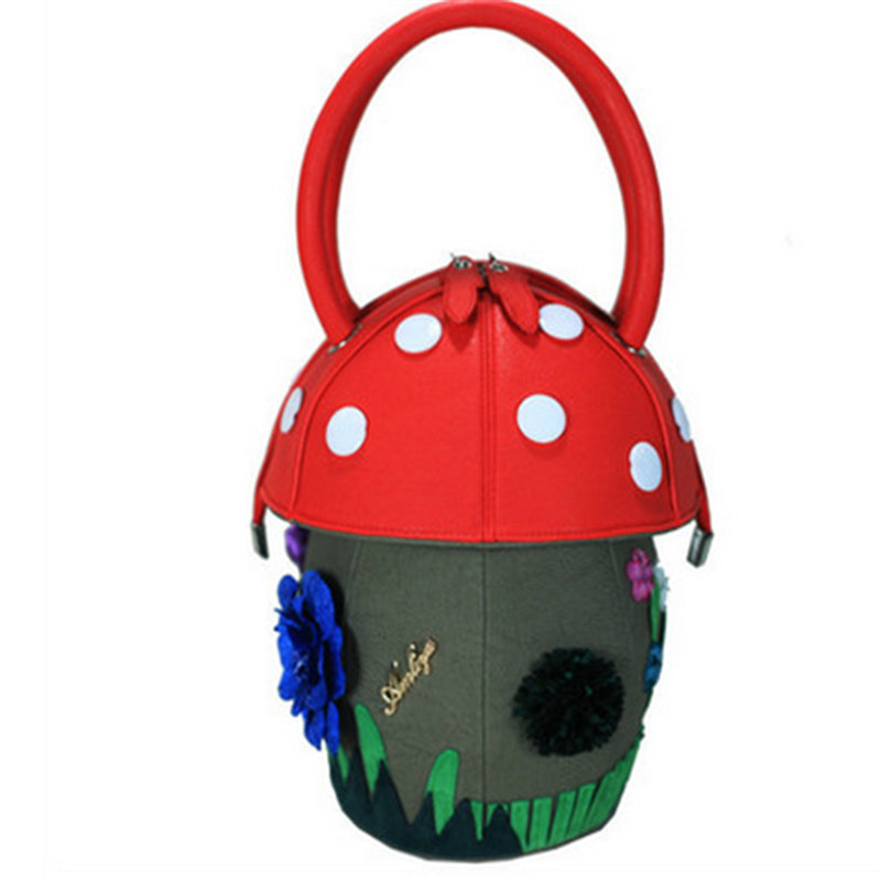 2018 Women Colorful Barrel-Shaped Handbags Pink Sweet Girls Floral Handbags Buttons Mushroom Leather Bags Lady Appliques Totes2018 Women Colorful Barrel-Shaped Handbags Pink Sweet Girls Floral Handbags Buttons Mushroom Leather Bags Lady Appliques Totes