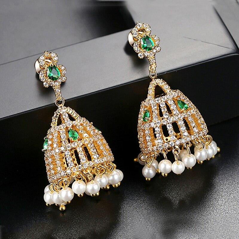 Dazz luxe Dangle boucles d'oreilles cloche vert Zircon perle or couleur bijoux pour mariée femmes africaines mariage Banquet accessoires cadeaux