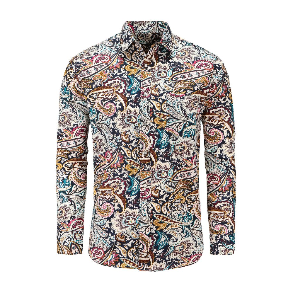 Dioufond Men's Paisley Print Floral Luxury Fashion Male Shirt Casual Long Sleeve Button Shirt For Men Rose Printed Floral Shirts