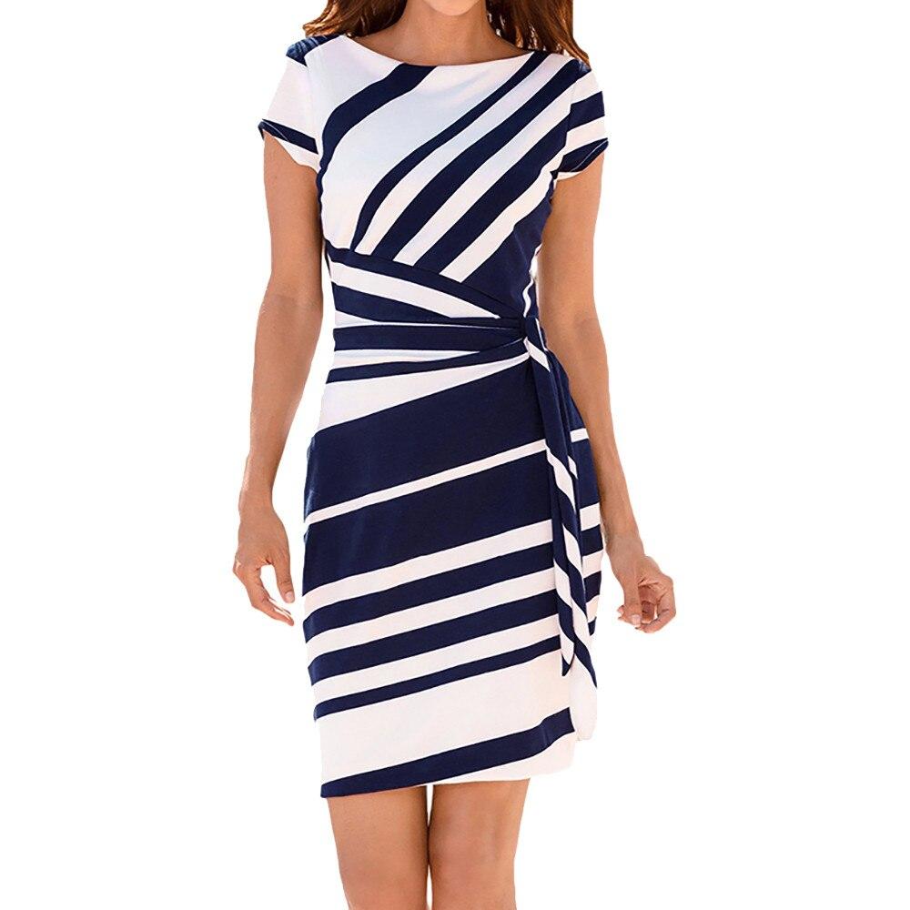 3626b532fbf FeiTong O neck stripe sash summer office dress women Wrap style pencil short  dress 2018 Streetwear