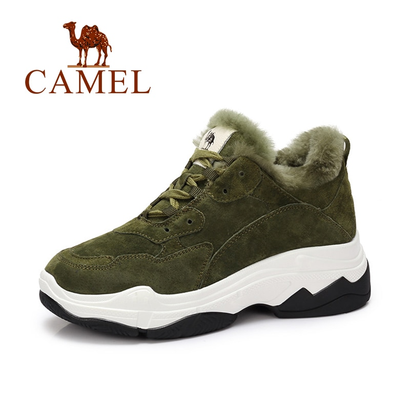 CAMEL Winter Women Shoes Thicken Warm High Platform Sneakers Women Casual Fashion Suede Fur Shot Plush Shoes For Ladies Leisure