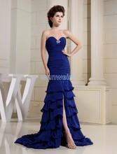 free shipping 2014 formal royal blue long Mermaid prom new design brides maid dress beading custom size/color evening Dress