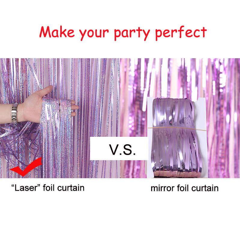 Curtain 250 x 90 cm Party Curtain glittervorhang Rosegold for hanging