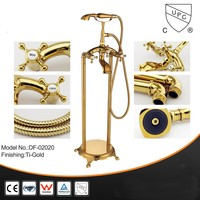 Gold plated Brass Bathtub faucet Floor Mounted cold and hot water faucet with Handheld Shower head bath shower faucet set