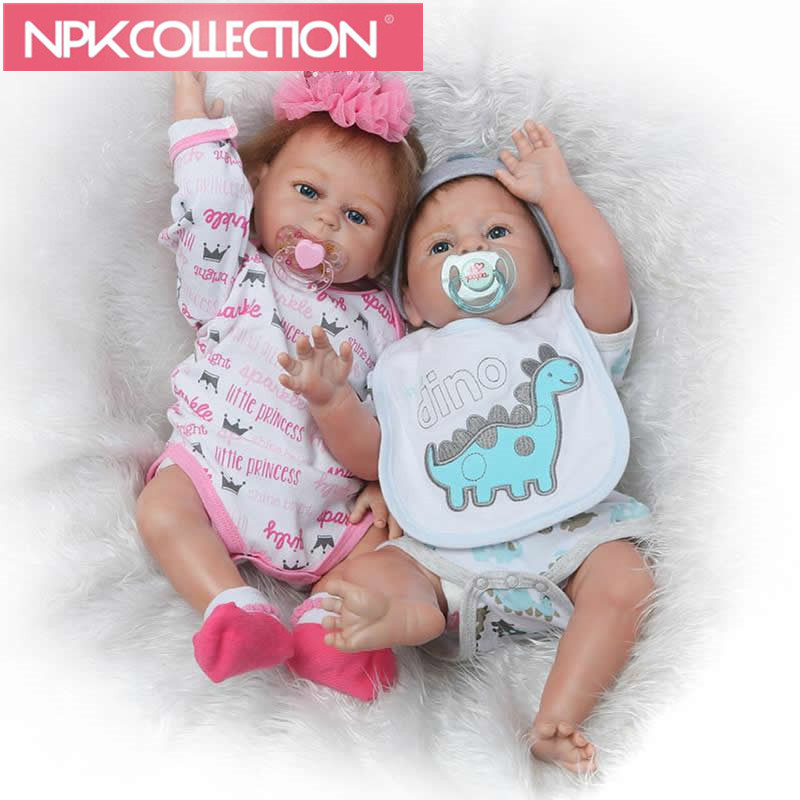 Full Silicone Twins Model Dolls 20'' Girl and Boy Reborn Babies Doll With Pacifier Realistic Boneca Fashion Xmas Gift N258-0