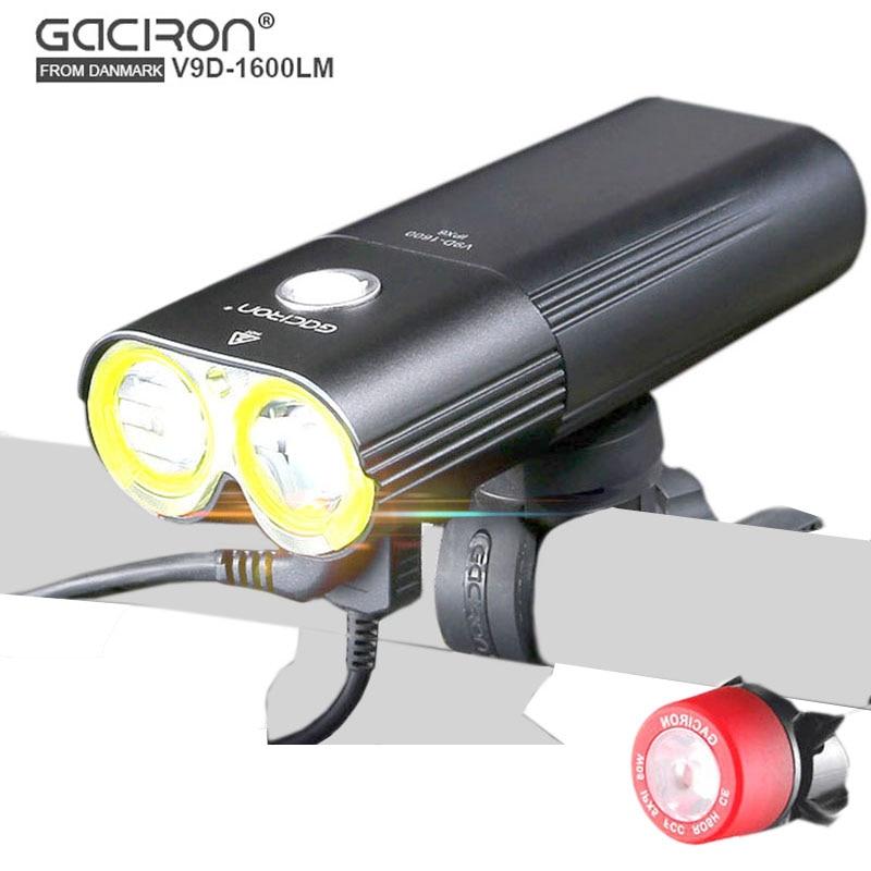 GACIRON V9D Cycling Front lights Bike L2 LED USB Rechargeable Bicycle lights Rear light Taillight gaciron v9d 1800 bicycle light 1800lumens usb rechargeable 6700mah power bank bike light cycling