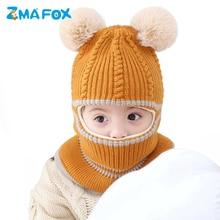 ZMAFOX baby winter masked hood hat kids Balaclava cap velvet knitted beanie hats children spring hooded caps fur pompoms scarf