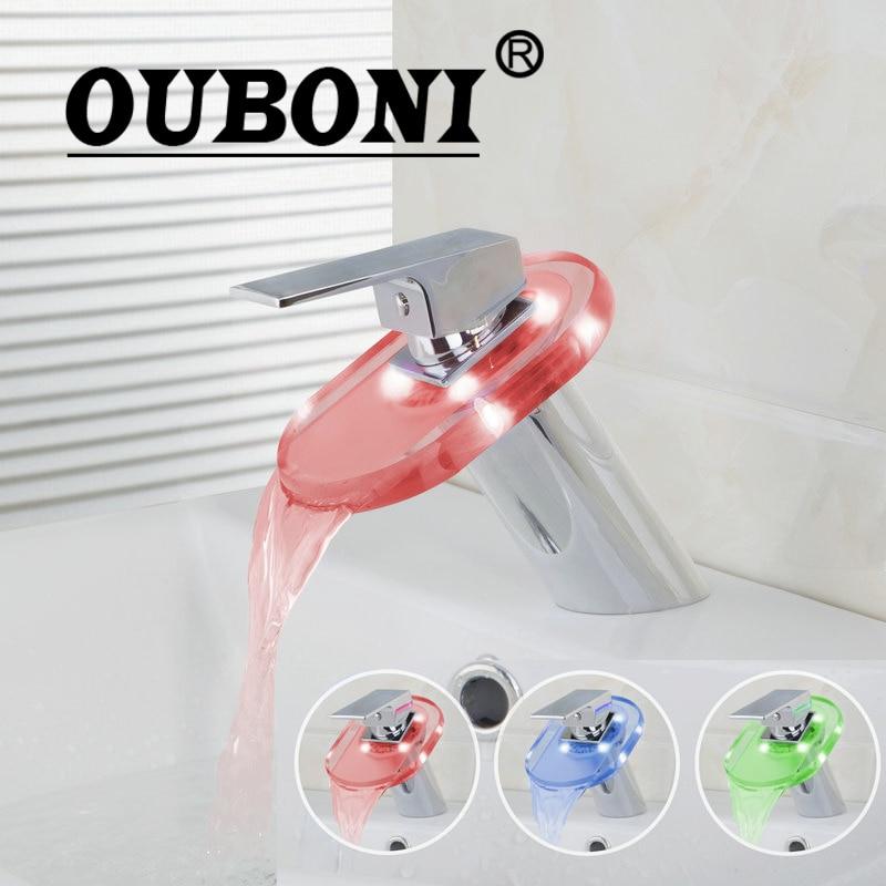 Ouboni светодиодный Водопад площадь Стекло Ванная комната кран раковина из нержавейки Смеситель хром латунь Chrome Смесители для ванной комнаты,...