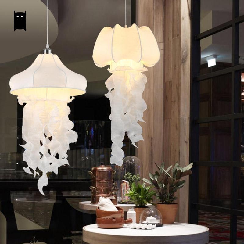 White Silk Fabric Jellyfish Pendant Light Cord Fixture Nordic Rustic Art  Decoratice Romantic Creative Hanging Lamp Luminaria