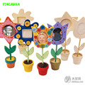 6 pieces Handmade DIY Child Painting Wooden Photo Frame Kids Picture Frames White Mold flower Pot Early Educational toys