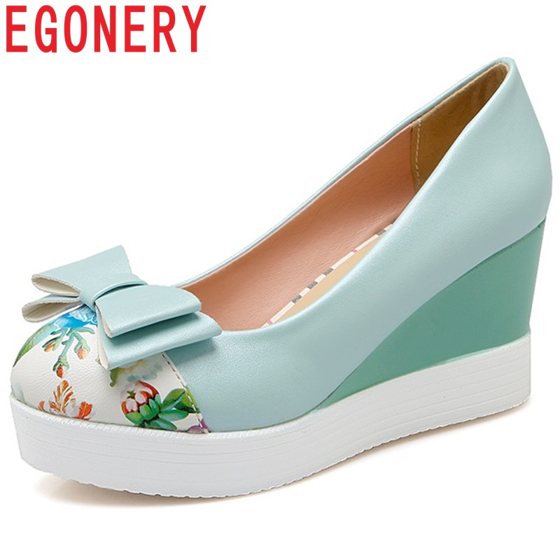EGONERY large size 34-43 Ethnic butterfly-knot flower Chinese style elegant pumps wedges 7.5cm high heels spring women shoes egonery shoes 2017 spring and autumn concise wedges butterfly knot pumps simple lace up sweet round toe women fashion high heels