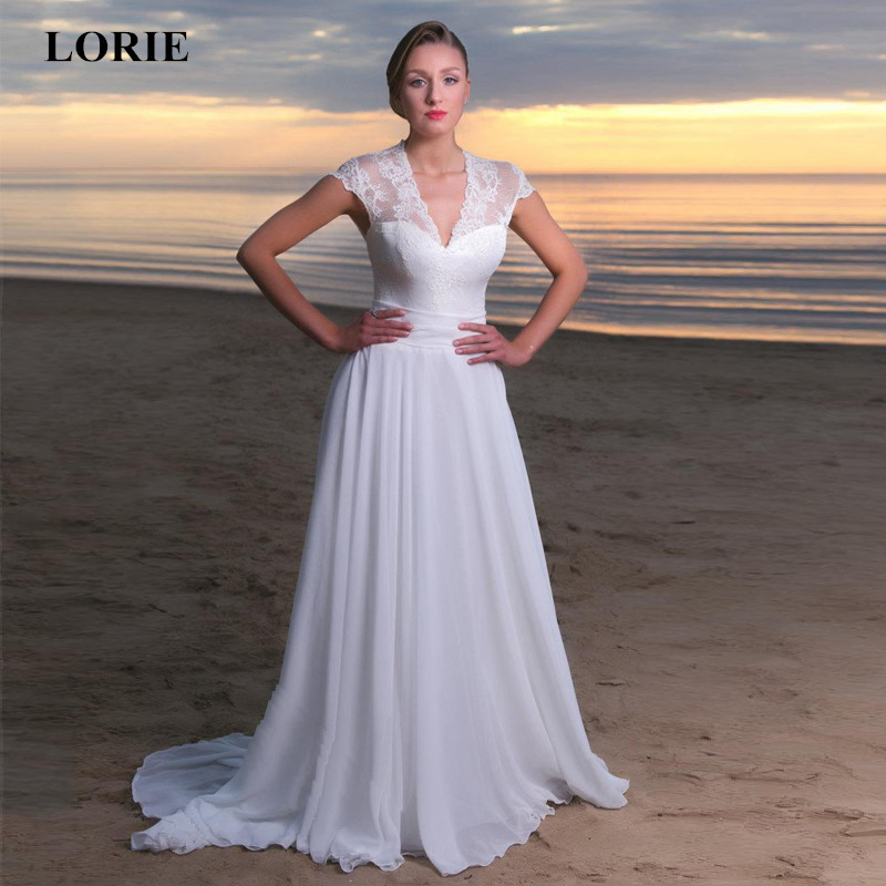 LORIE Wedding Dresses V Neck A Line Chiffon and Lace Wedding Dress With Cap Sleeves Summer Beach Wedding dress Belt With Bow