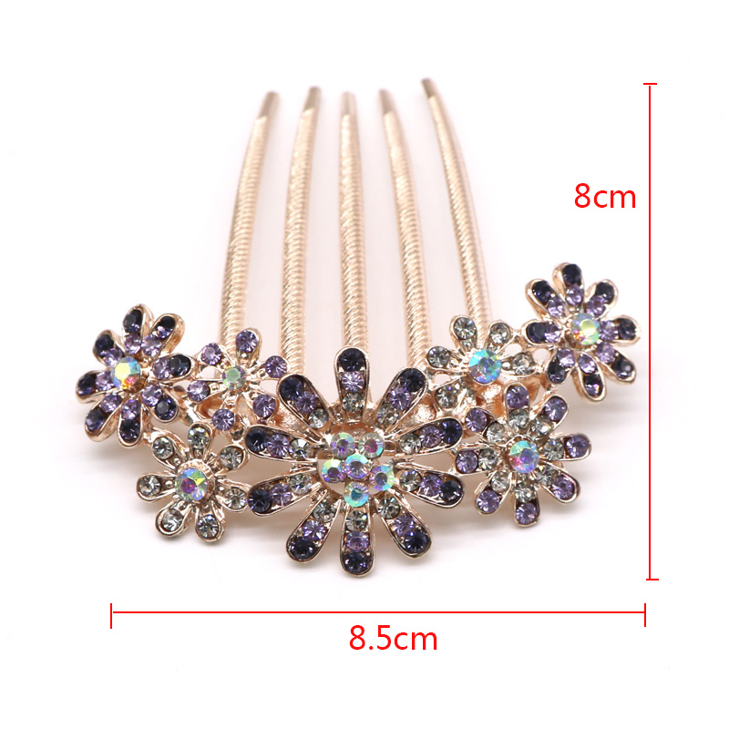 1pcs Fashion Crystal Flower Hairpin Metal Hair Clips Comb Pin For Women Female Hairclips Hair Comb Hair Accessories Styling Tool #5