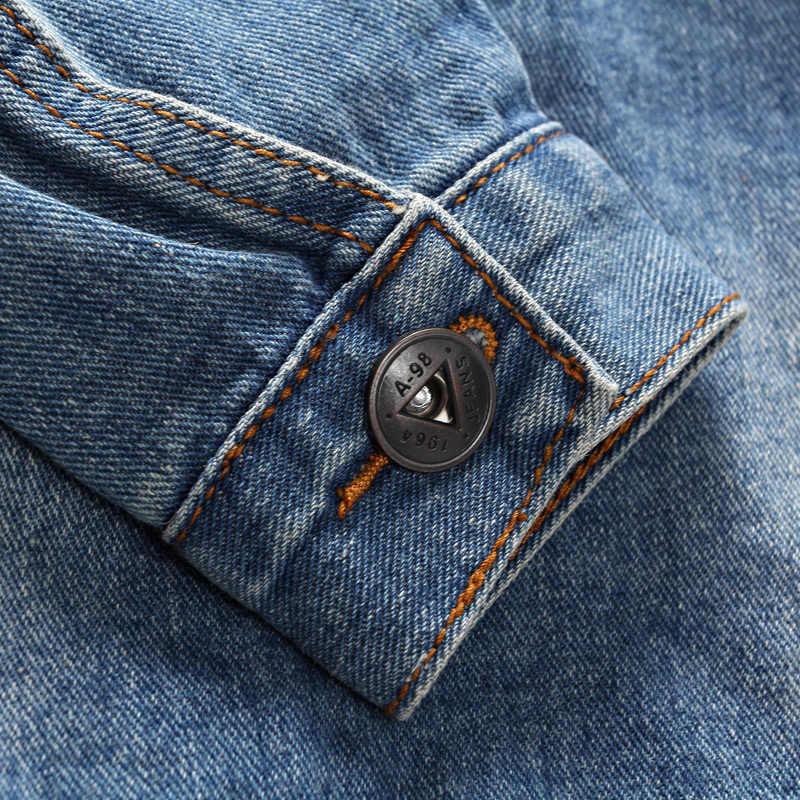 2018男性のデニムジャケット高品質のファッションジーンズジャケットスリムフィットカジュアルストリートヴィンテージメンズジャン服プラスサイズm-5xl