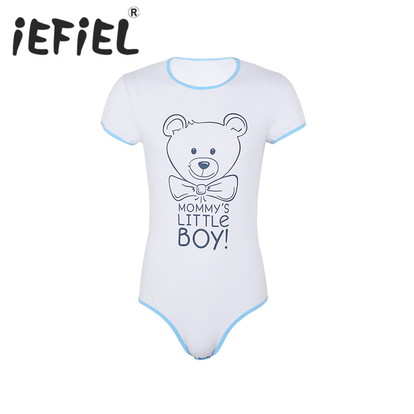 New Arrival Male Mens One Piece Lingerie Round Neck Short Sleeves Snap Crotch Front Printed Bodysuit Romper Nightwear Pajamas