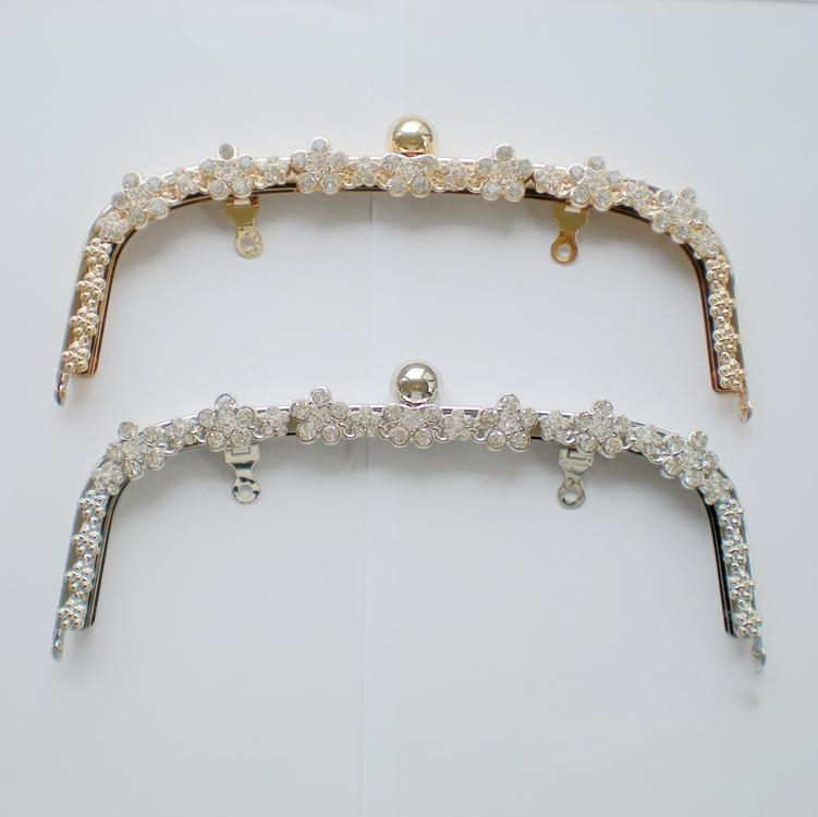 22cm Golden Silver Color Metal Female DIY Bag Metal Clasp Purse Frame Flower Diamond Decoration And With Free Screws 2pcs/lot