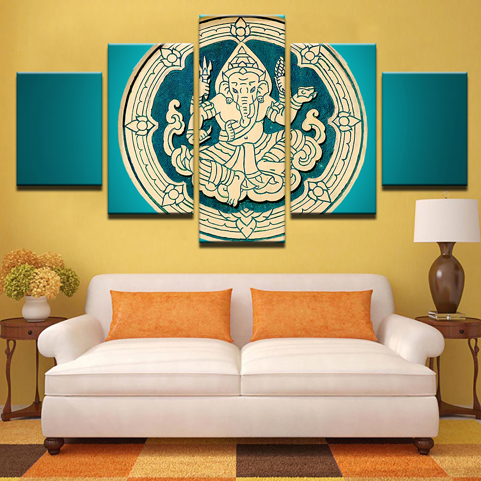 HD Printed Poster Canvas Wall Art Picture 5 Pieces India Elephant ...