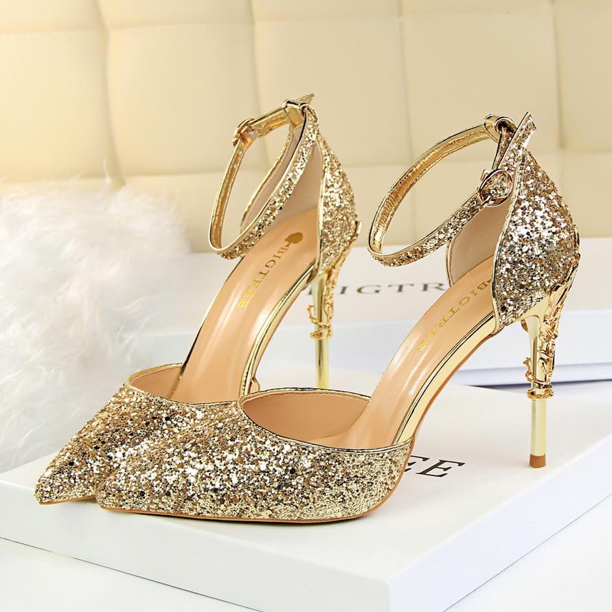 2018 Sexy Women 10cm High Heels Size 40 Sandals Wedding Scarpins Metal Heels  Sandals Stiletto Bridal Glitter Gold Bigtree Pumps 59ab6ab462ef