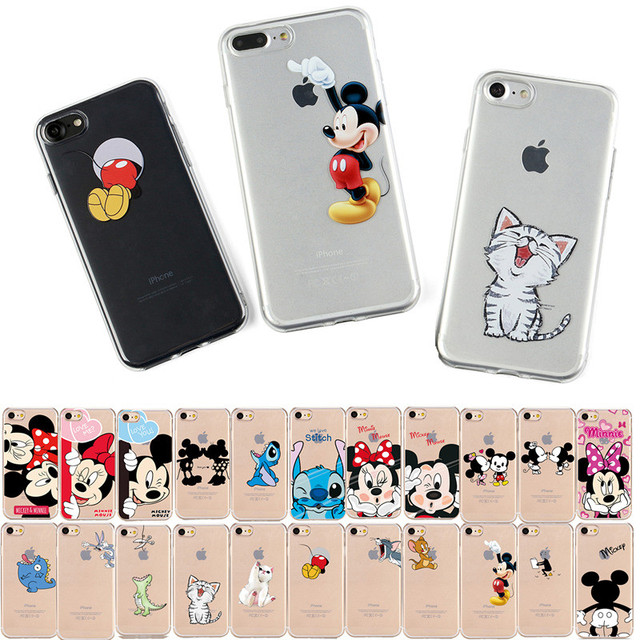 JeKacci Cartoon Case For iPhone 6 6s 6Plus 5 5s se Case Mickey Silicone Phone Cover For iPhone 7 8 Plus XR Xs Max Coque Funda